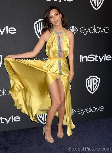 Emily Ratajkowski upskirt panties Golden Globes red carpet