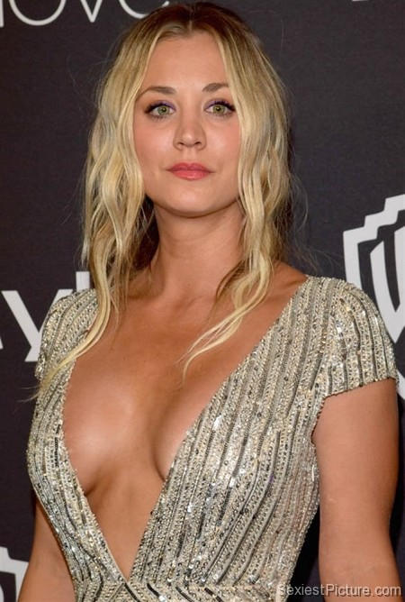 Kaley Cuoco sexy boobs cleavage Golden Globes red carpet