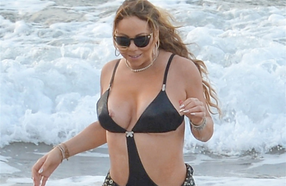 Mariah Carey Nip Slip Boobs Tits Bathing Suit Wet -6304