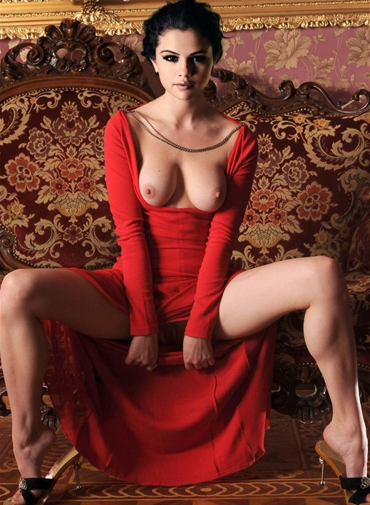 Selena Gomez Nude Topless Red Dress Boobs Tits  Celebrity -3633