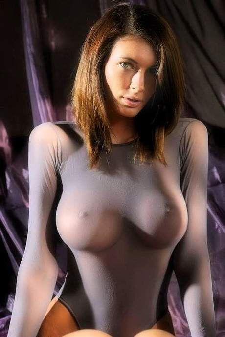 Sexy Brunette Skin Tight See Through Nipples Big Boobs -3230