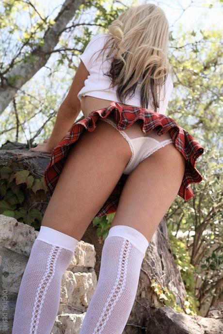 Sexy School Girl Uniform nederdelen Trusser Blonde-2951