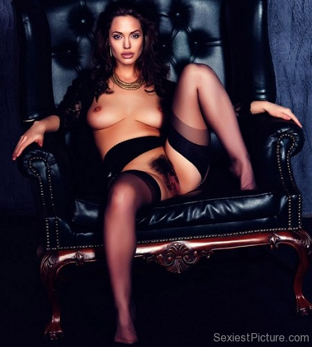 Angelina Jolie nude naked boobs big tits hairy pussy lingerie