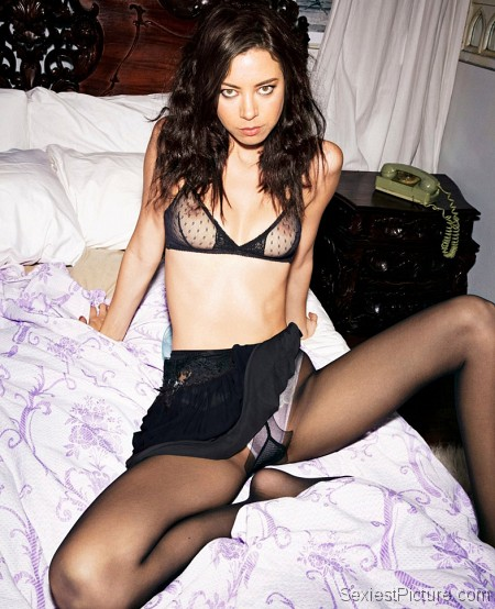 Aubrey Plaza sexy slutty see through lingerie