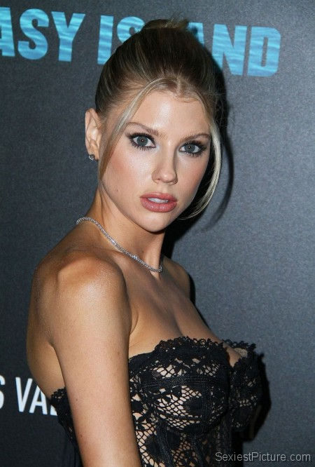 Charlotte McKinney Braless Boobs Sexy Corset