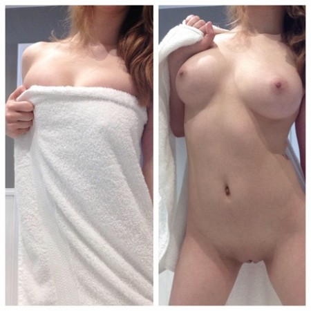 Drop the towel flash boobs and pussy