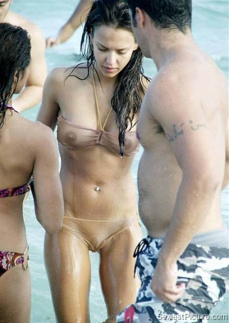 Jessica Alba wet see through bikini boobs tits nipples paparazzi