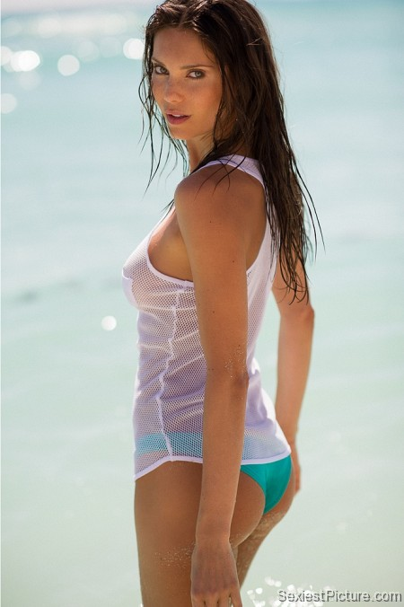 Julia Pereira wet see through top beach