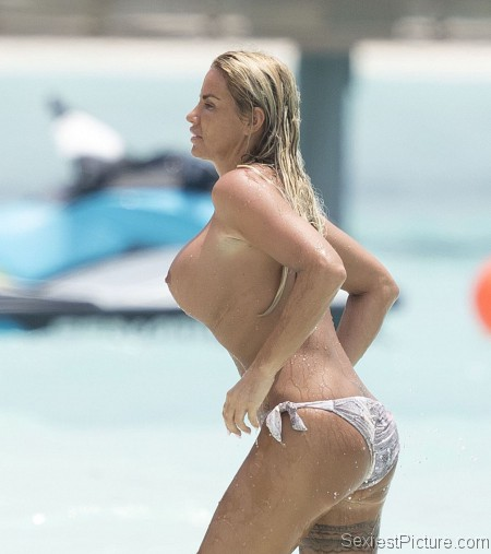Katie Price topless fun at the beach