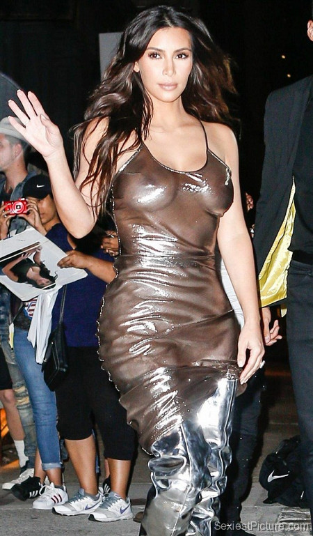 Kim Kardashian see through dress boobs big tits public paparazzi