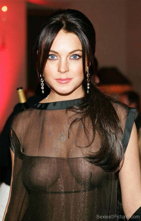 Lindsay Lohan see through dress boobs big tits