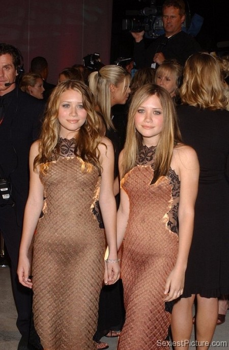 Mary Kate Ashley Olsen see through dress boobs tits panties thong