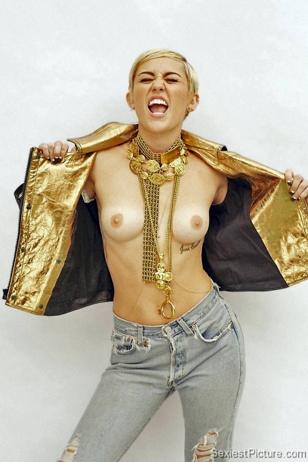 Miley Cyrus nude topless boobs tits flash flashing gold