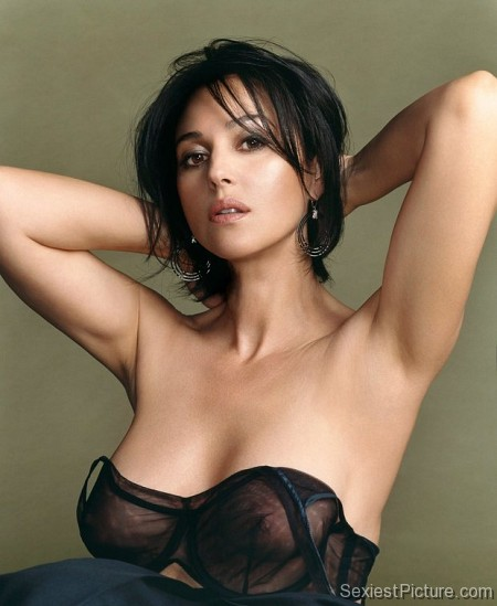 Monica Bellucci  stripping see through bra boobs tits