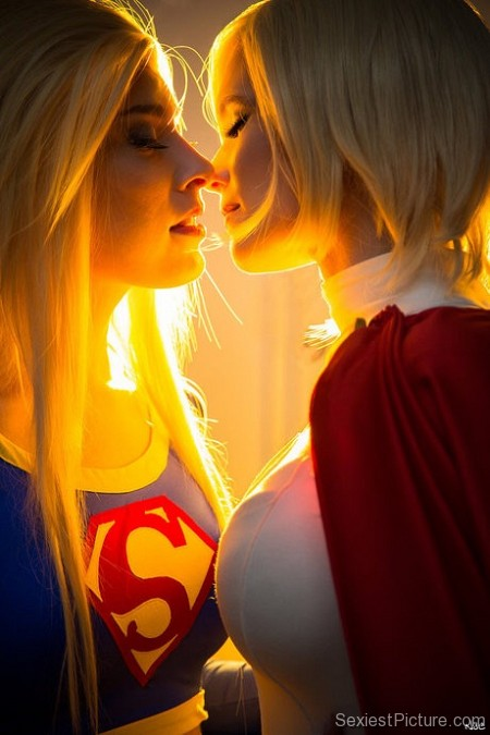 Sexy blondes cosplay kissing uniform
